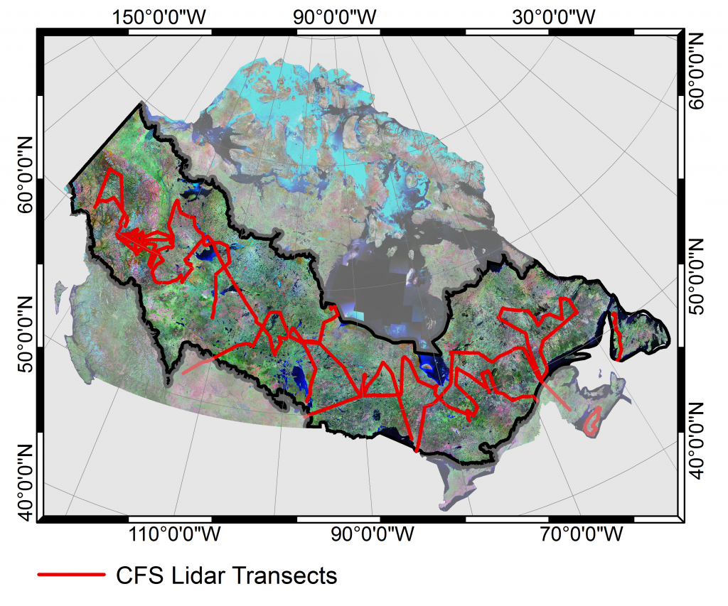Figure 1: The flight path of 34 Lidar transects flown by the CFS in the summer of 2010 over the Canadian boreal