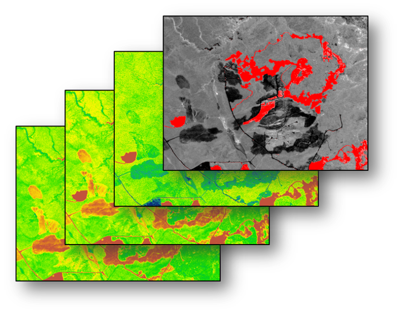 Conceptual image stack depicting calculated disturbance indexes from multiple dates; top image depicts feature extraction of disturbed areas.