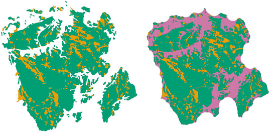 Mapped mortality classes for a wildfire (left) and the generated disturbance event (right). © 2013 Paul Pickell